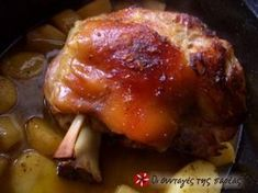Great recipe for Pork shank in the Dutch oven. A delicious dish for winter Sundays. Recipe by Φρύνη Dutch Oven Recipes, Pork Recipes, Cooking Recipes, Pork Shanks Recipe, Cypriot Food, Greek Recipes, Food Cravings, Tasty Dishes, Cooking Time