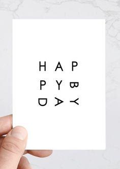 Simple Happy Birthday Greeting Card Minimal by TheSavvyHeart