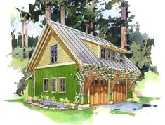 The Forest Studio ~ This efficient little garage building is designed to accommodate three uses. a two car garage, potting alcove or shop and accommodations above ideal as a small residence, art studio or home office. Garage Art Studio, Art Studio Decor, Studio Shed, Art Studio At Home, Studio Ideas, Ux Design, Home Design, Small House Design, Studio Design