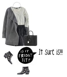 """""""Monochrome Friday"""" by mrs-box ❤ liked on Polyvore featuring Boden, J.Crew, Eddie Borgo and Yves Saint Laurent"""