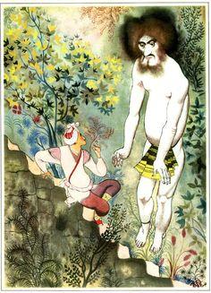 """Jiri Trnka - Illustration for """"Tales from the Arabian Nights"""" 1960 (1)"""