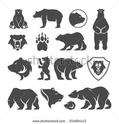 Vintage bear mascot, emblems, symbols, icons set. Can be used for T-shirts print, labels, badges, stickers, logotypes vector illustration. - stock vector