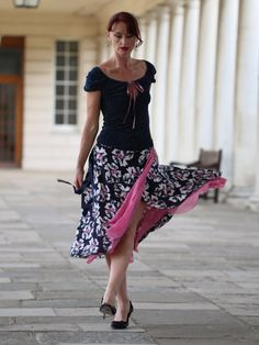 Ballroom Tango skirt: Navy Hibiscus by LibertasAtelier on Etsy
