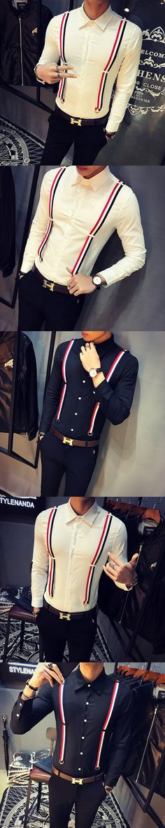 2017 2018 New Mens Long Sleeve Shirt with Strap Overalls for Men Elegant, Gq, Style Me, Overalls, Cool Outfits, Long Sleeve Shirts, Men Shirts, Men Clothes, Mens Fashion