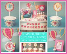 Printable Personalized Summer Breeze (HOT AIR BALLOONS) Birthday Party Pack. $19.99, via Etsy.