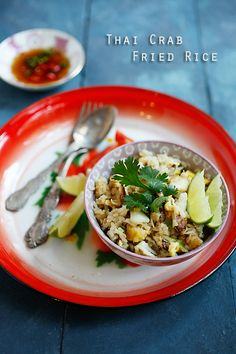 Thai Crab Fried Rice: The sweet and briny crab meat infused the fried rice with its natural sweet taste, so a little light soy sauce and fish sauce are what I needed to season the fried rice. Really easy!