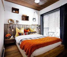 bett kopfteil landhausstil schlafzimmer orange akzente