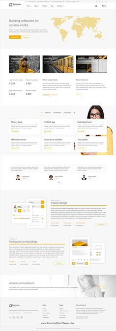 Yellow Business is clean and modern design 8in1 responsive bootstrap HTML5 #template for interior design, Architect, construction #company website to live preview & download click on Visit 👆 #webdesigns