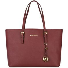 Michael Michael Kors Jet Set Travel Tote Bag ($445) ❤ liked on Polyvore featuring bags, handbags, tote bags, bordeaux, red purse, genuine leather tote, red handbags, leather travel purse and travel purse