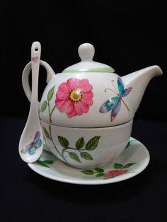 tea for one taza tetera plato y cucharita de porcelana