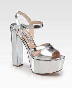 91529658cbb Prada Metallic silver platforms 37