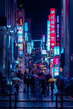 Rain drenched street at night full of umbrellas Gangnam District Seoul South Korea 8641080 Aesthetic Japan, Night Aesthetic, Neon Aesthetic, Neon Wallpaper, Scenery Wallpaper, Pixel Art Background, Cloudy Nights, Cyberpunk City, Tokyo Night