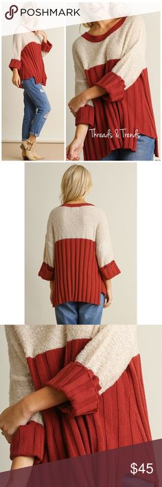 Rust Pleated Sweater Trendy rust color and cream sweater. Featuring color block design, 3/4 length cuff sleeves and pleats. Made of knit acrylic. Size S, M, L Threads & Trends Sweaters Crew & Scoop Necks