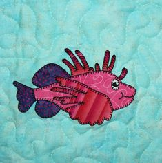 Lionfish PDF applique quilt block pattern; zebrafish quilt; ocean animal quilt pattern; baby or child's quilt pattern; reef explorer quilt by MsPDesignsUSA on Etsy
