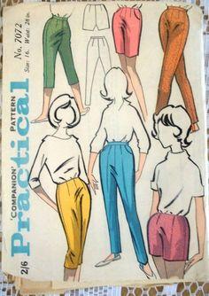 1960s Vintage Sewing Pattern - Practical Companion 7072 - Mod Pants (3 leng