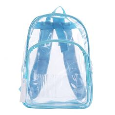 Transparent Clear School Bag See-thru Backpack Casual Daypack Outdoor... ($26) ❤ liked on Polyvore featuring bags, backpacks, backpack, blue bag, crystal clear bags, rucksack bag, transparent bag and knapsack bags
