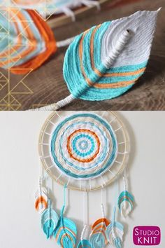 Fiber Feather Dreamcatcher DIY Craft A complete step-by-step process to create your Fiber Feathers from yarn, fabric starch, and how to design and shape. Boho Bedroom Craft DIY by Studio Knit. Boho Bedroom Diy, Bedroom Crafts, Bedroom Decor, Bedroom Ideas, Wall Decor, Diy Crafts Love, Diy Crafts For Adults, Cortinas Boho, Easy Diy Room Decor