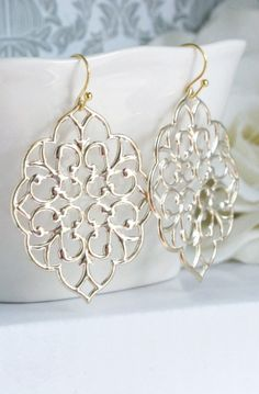 Lovely Clusters - Beautiful Shops: Romantic Large Moroccan Gold Filigree Earrings