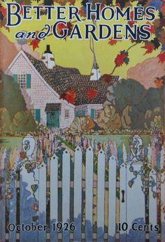 1926 BETTER HOMES & GARDENS Magazine - October Art Deco White Picket Fence Home