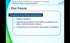 (PIC) Q. What is #PCORI's focus? A. Comparative Clinical Effectiveness Research. Q. What does #CER mean? A. pic.twitter.com/UUfGgNxb9M
