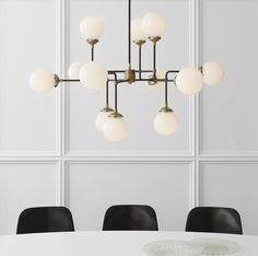 Shop for Visual Comfort S Ian K. Fowler Modern Bistro Medium Chandelier in Hand-Rubbed Antique Brass with White Glass at Foundry Lighting Home Lighting Design, Modern Lighting, Lighting Ideas, Pendant Chandelier, Chandelier Lighting, Suspended Lighting, White Chandelier, Modern Chandelier, Chandeliers