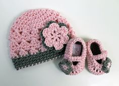 Crochet Baby Hat and Booties Set with Flowers in by LittleLillyBug, $32.00