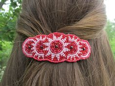 Shared Treasures Boutique - Beaded Barrette / Hair Clip - Red / White - Handmade in Guatemala, $16.00 (http://www.sharedtreasuresboutique.com/beaded-barrette-hair-clip-red-white-handmade-in-guatemala/)