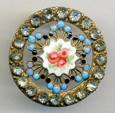 Large Antique Pierced Enamel Button w Paste Border, Rosebuds, Pierreries