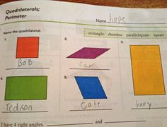 Name the quadrilaterals. This made me laugh so hard!