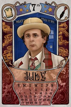 July month for the doctor who 2014 calendar with Sylvester McCoy as the doctor. 7th Doctor by boop-boop.deviantart.com on @deviantART