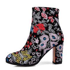 5c918e51acea2 Oryginalne skórzane buty damskie obcasy haftowane Kwadratowych szpilki  botki Buty Zimowe Damskie Botki Botas Indian style