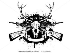This would look absolutely sick IF: 1The guns were replaced to a pair of twin tip freestyle skis.  2 The dead Elks face is replaced to a living Elks Face. 3.  The Antlers were a little bit bigger and more extreme 4. Thw Words Evil Elk were written between the Antlers nice and big. 5. There were afew more stars, swirls,snowflakes, paint splats in the background. 6 There was no ribbon at the bottom