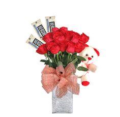 Arreglo Floral Perdóname - $130.000 [15 -20  rosas rojas, 3 chocolates y osito.]