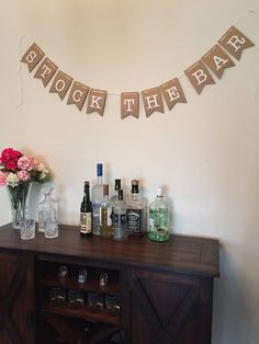 How to Plan a Stock the Bar Engagement Party / Wedding Shower : stock the bar banner Wedding Shower Decorations, Engagement Party Decorations, Engagement Party Invitations, Elegant Wedding Invitations, Bridal Shower Invitations, Engagement Parties, Engagement Pictures, Engagement Shoots, Engagement Photography