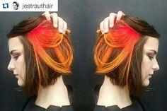 www.foxdensalon.com - #Repost @jestrauthair  Beautiful flame gradient #flamehair  #blockhaircolor #joicointensity #peekaboohighlights #gradienthair #firehairdontcare #flaminghair #modernsalon #behindthechair #hairinspiration #inspiration #minneapolis #local #supportlocalart #hairart #hairartist