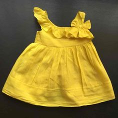 Diy Crafts - LOVELY Yellow Summer Dress 18 Months - Mercari: Anyone can buy & sell Baby Girl Frocks, Frocks For Girls, Toddler Girl Dresses, Little Girl Dresses, Girls Frock Design, Kids Frocks Design, Baby Frocks Designs, Baby Girl Dress Patterns, Baby Dress