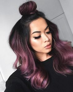 Rose gold hair color is here to stay and we are living for it! Read on for ideas on how to turn your rose gold hair color dreams into a reality. Hair Color Purple, Hair Dye Colors, Cool Hair Color, Violet Hair Colors, Subtle Purple Hair, Deep Burgundy Hair Color, Purple Brown Hair, Change Hair Color, Vivid Hair Color