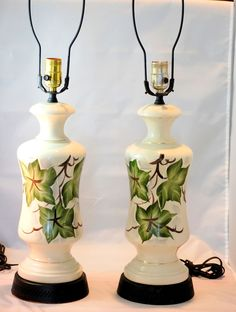 Vintage 1950s Hand Painted Ivy Leaves Matching Table Lamps #HollywoodRegency #Unknown