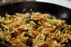Thai Drunken Noodles / Pad Kee Mao. I used to love this dish when I worked at Thai Cuisine. It's spicy and oh so flavorful! I preferred it with thinly sliced or chopped beef. Looks like I'll be making a stop at the Asian market soon to pick up some Black Soy Sauce and Thai basil.