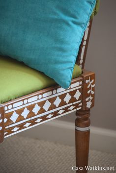 Thrift store chair makeover.  Moroccan/Indian bone inlay furniture look by stencilling