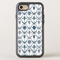 Art Nouveau Spring Bulbs  Monogram  White Navy OtterBox Symmetry iPhone 8/7 Case - elegant gifts gift ideas custom presents