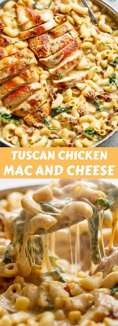 Tuscan Chicken Mac And Cheese is a ONE POT dinner made on the stove top, in less than 30 minutes! It will be hard to go back to regular Mac and Cheese! Tuscan Chicken Mac And Cheese - New Chicken Recipes, Pasta Recipes, Cooking Recipes, Healthy Recipes, Beef Recipes, Recipies, Stove Top Recipes, Cheese Recipes, Easy Dinner Recipes