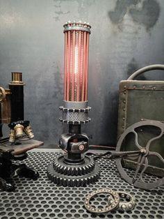 Steampunk lighting, steampunk furniture, industrial lighting, machine age lighting