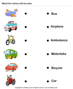 Names of vehicles worksheet - turtle diary English Activities For Kids, Learning English For Kids, English Worksheets For Kids, English Lessons For Kids, Preschool Learning Activities, Kindergarten Worksheets, Teaching English, Learn English, Ingles Kids