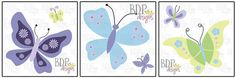 Beatiful Butterfly Set of 3 Prints  Matches Nojo by BDPDesigns, $15.00