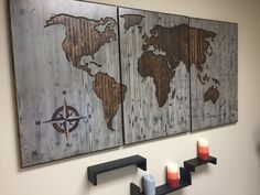 World Map Wood Wall Art, CARVED, Custom Home Decor, Wooden map, Wooden, 3 Panel, Modern, Rustic, Distressed, To Travel is to Live Quote by HowdyOwl on Etsy