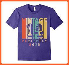 Mens Vintage Style Vintage 14 Years Old Birthday T-Shirt Large Purple - Birthday shirts (*Partner-Link)