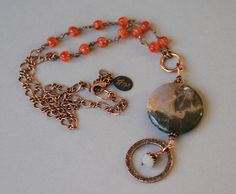 African Jasper and Carnelian Antiqued Copper Eyeglass Lanyard