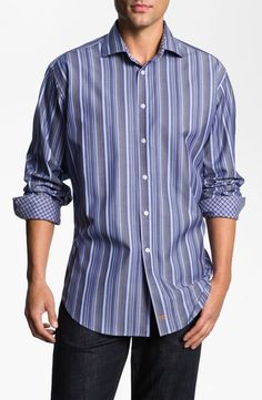 Thomas Dean Stripe Sport Shirt. Love the contrasting stripes and checks.