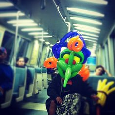 BOO! Balloon animal costume on BART on Halloween day. (I admit, I'm a little bit scared.)